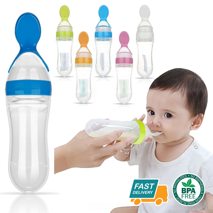 Baby Silicone Squeeze Feeding Bottle With Spoon Food Rice Cereal Feeder Tools J