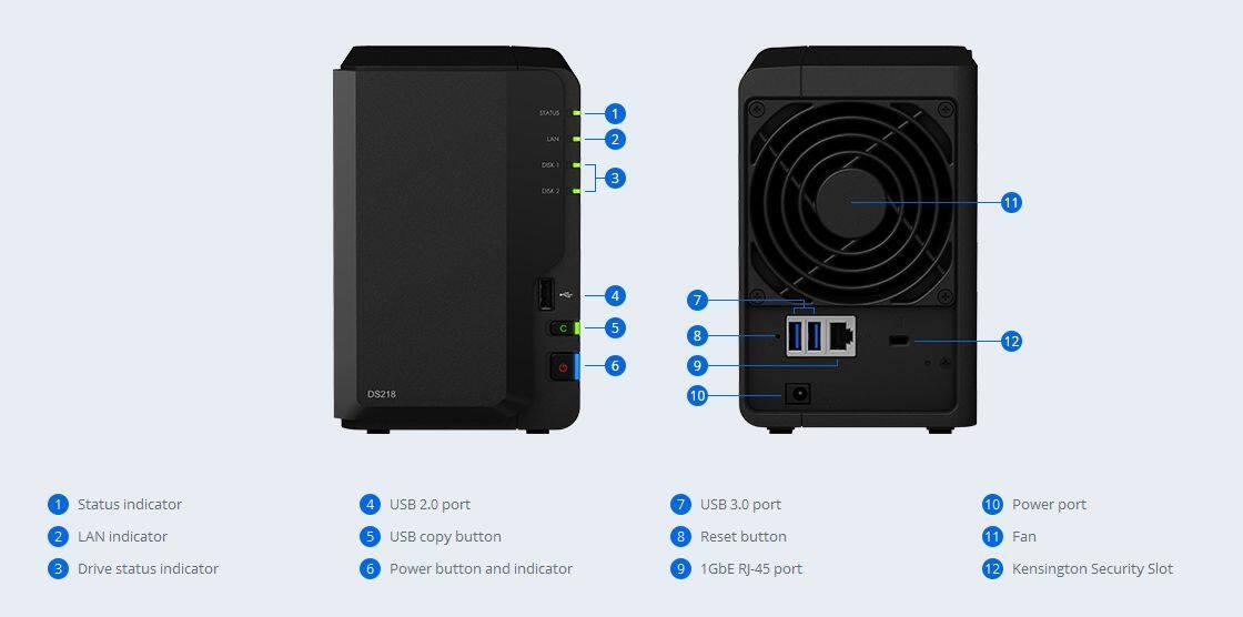 Synology DS218 2-Bay NAS Storage (Dual Core 1.4GHz,DDR4 2GB , | Lazada