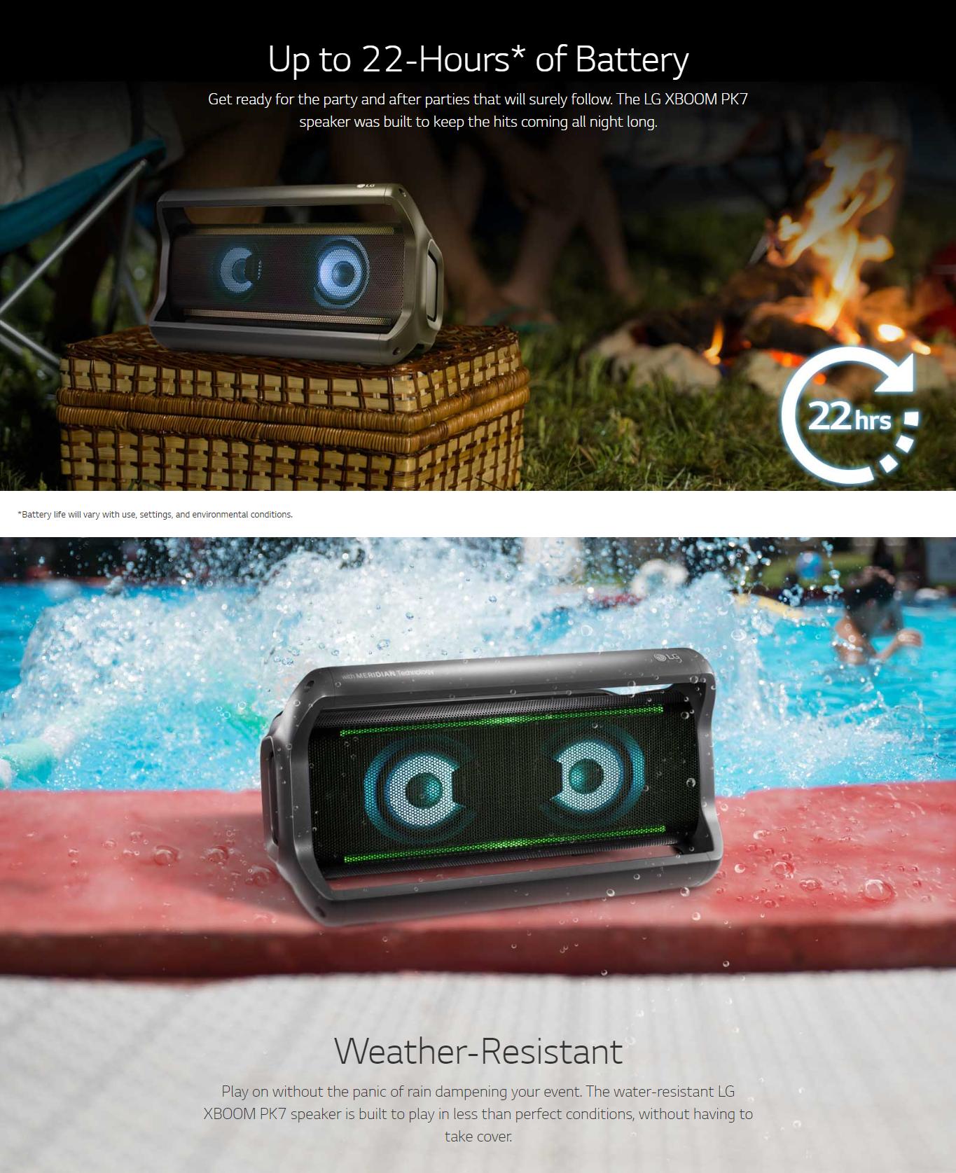44414265fee Specifications of LG XBOOM Go Waterproof Bluetooth Speaker PK7