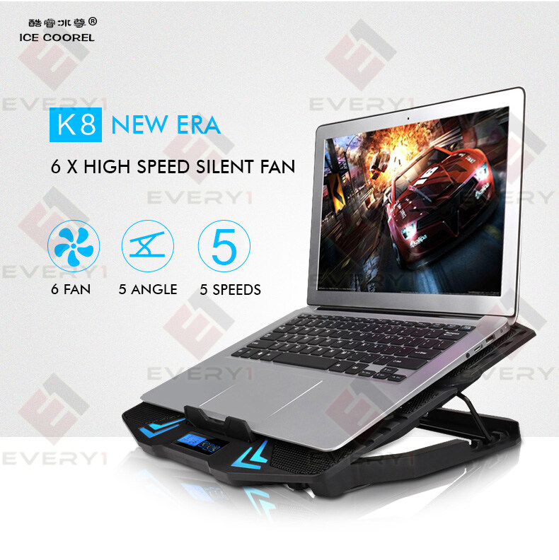 ICE COOREL K8 Super Mute 6 Fans Ice Cooling Technology Cooler Pad with Rack  Stand and Built-in LCD Display 5 Speed control of Fans for Laptop