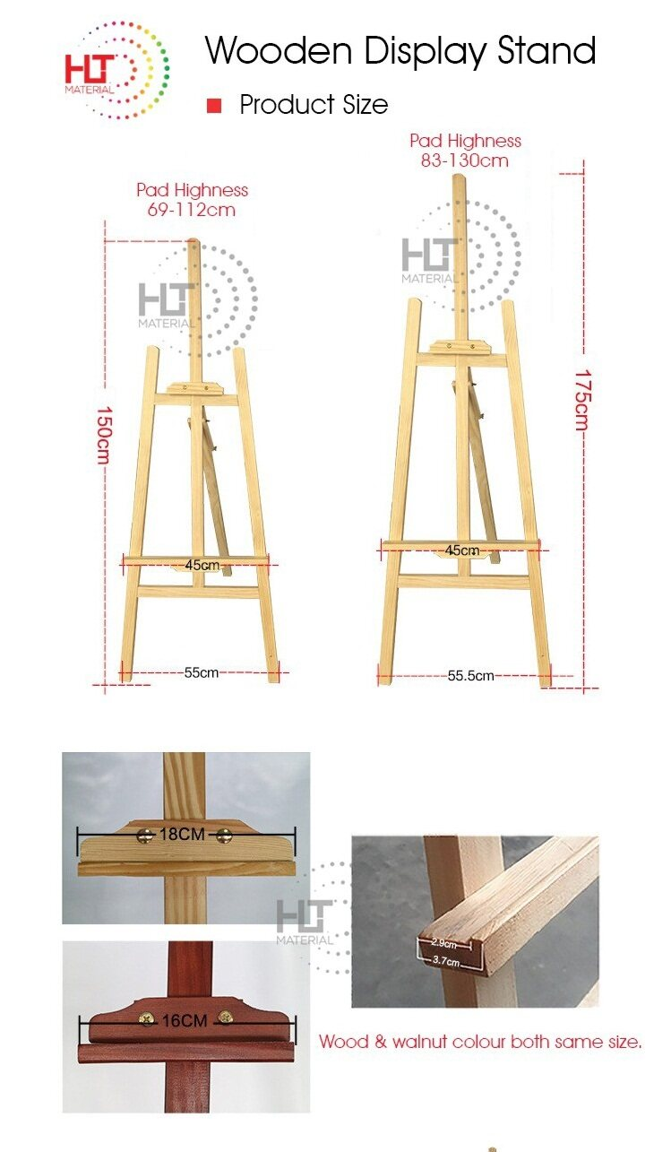 1 75M Pine Wood Easel Stand/Wooden Display Stand/Pine Wood Art Sketch  Drawing Easel Stand