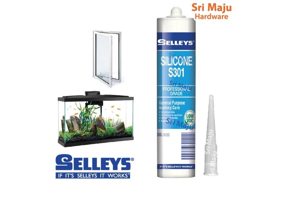 MAJU Selleys S301 Silicone Sealant S-301 300g Silicon Glass Seal Aquarium  Wood Window Glue Gam Silikon Kaca