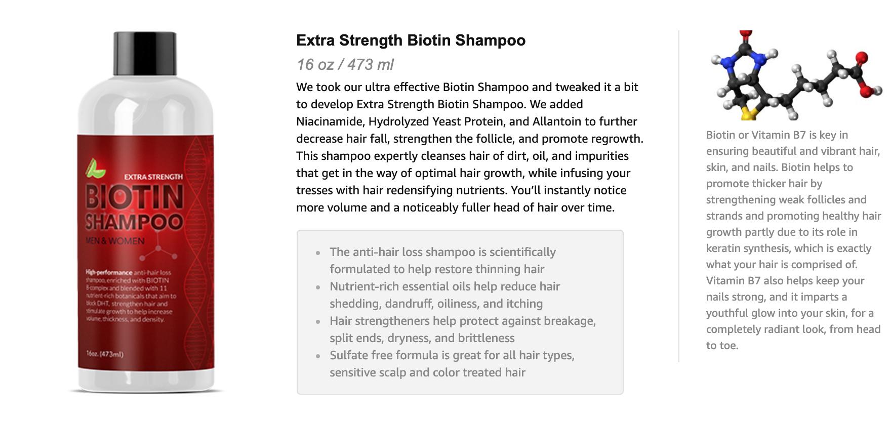 Maple Holistics Biotin Shampoo For Hair Loss - Extra Strength Hair Growth  Treatment - Natural DHT Blocker B Complex Vitamins For Thinning Hair -