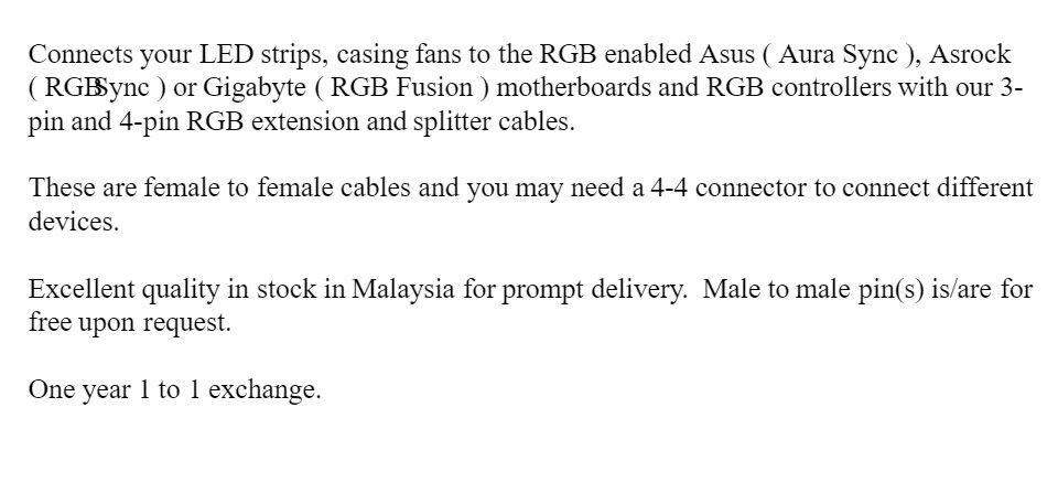 For Asus ROG 4 ASUS ROG Aura Sync LED 4 pin extension cable also Gigabyte  RGB Fusion Asrock 5V 12V ok