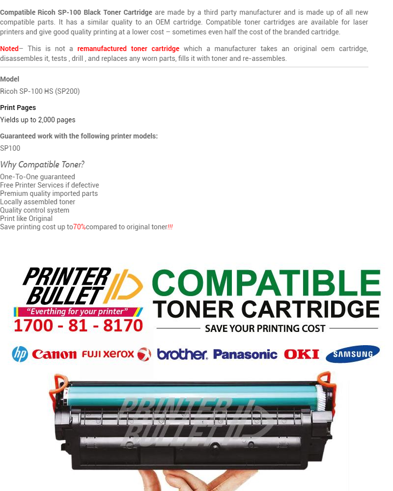 2 unit Ricoh SP100 / SP112 High Quality Compatible Laser Toner Cartridge  For Ricoh Aficio SP100e / SP100su / SP100sfe / SP100sf / SP112 / SP112sf /