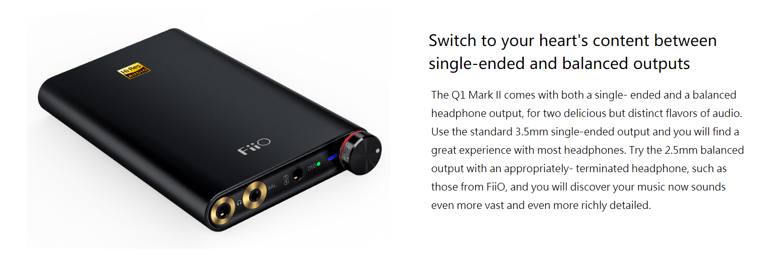 FiiO Q1 Mark II Portable Headphone Amplifier & DAC Hi-Res Certified Up to  384 kHz / 32-Bit Support For Computers iOS