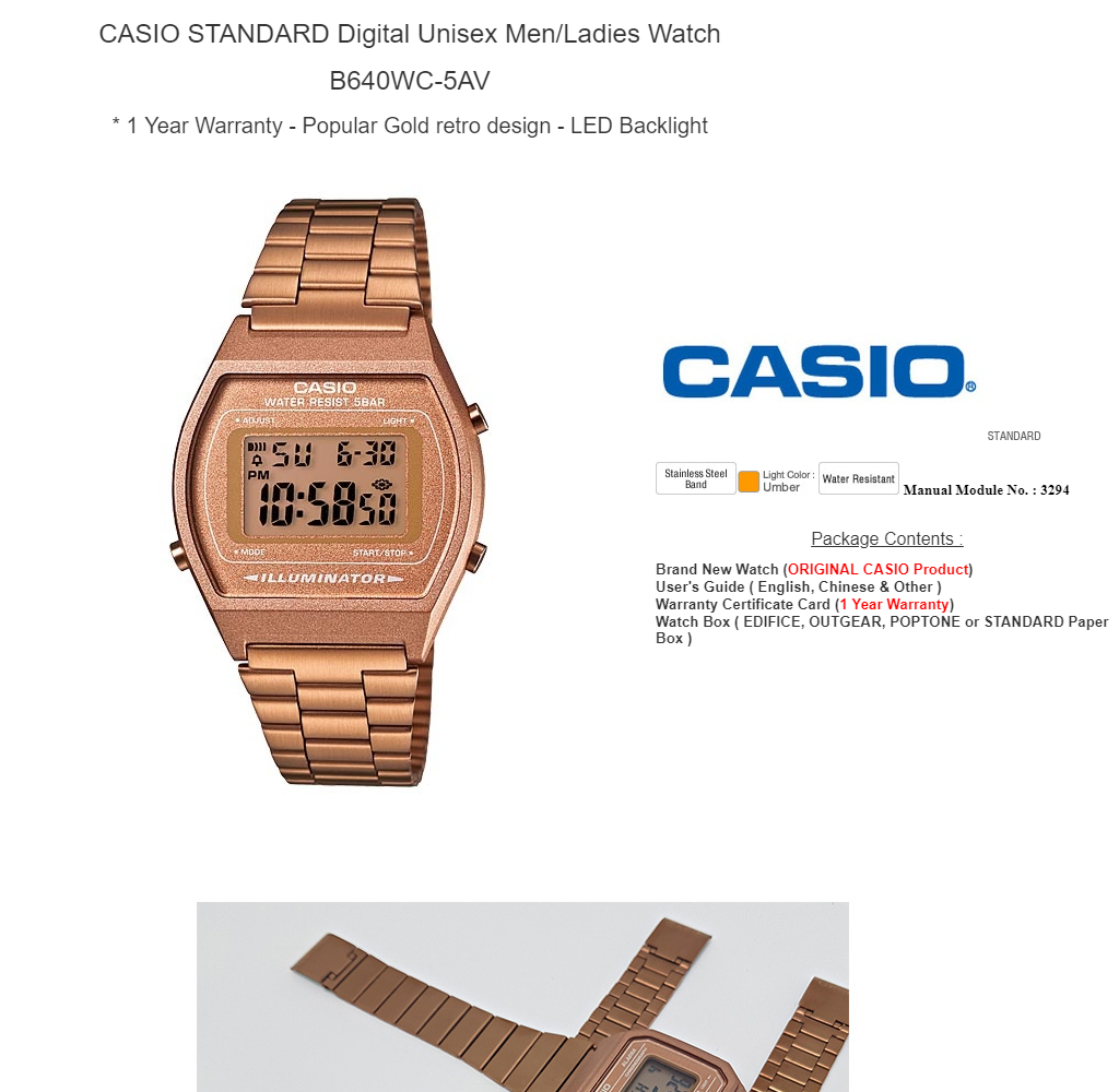 2bb343682 CASIO DIGITAL B640WC-5AV Men & Ladies Digital Watch - Retro Rose Gold |  Lazada