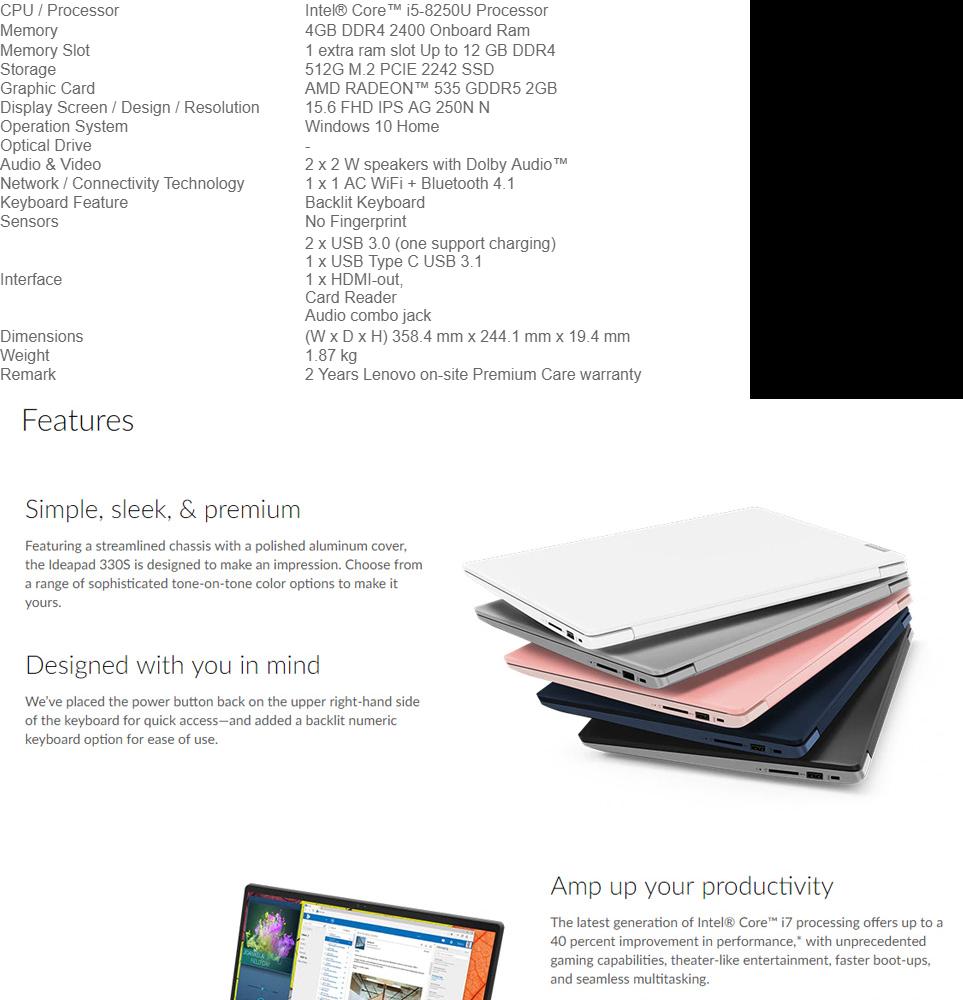 LENOVO IDEAPAD 330S-15IKB 81F50148MJ BLUE (I5-8250U/4GB/512GB SSD/R535  2GB/15 6