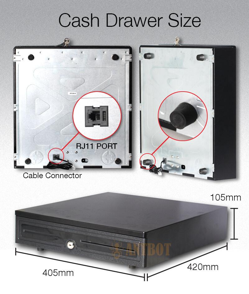 Heavy Duty 7 Segment Metal POS Cash Drawer Cash Box Money Box with Keylock  RJ11 & Adjustable Coin Drawer Black