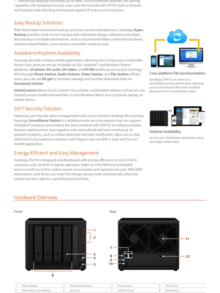 Synology DS418 NAS DiskStation 4-Bays