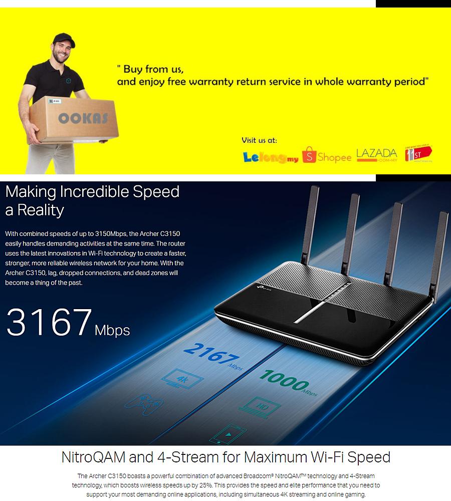 TP-Link Archer C3150 Wireless WiFi MU-MIMO Gigabit AC3150 Router For UniFi  / Maxis Fiber / Time Fibre