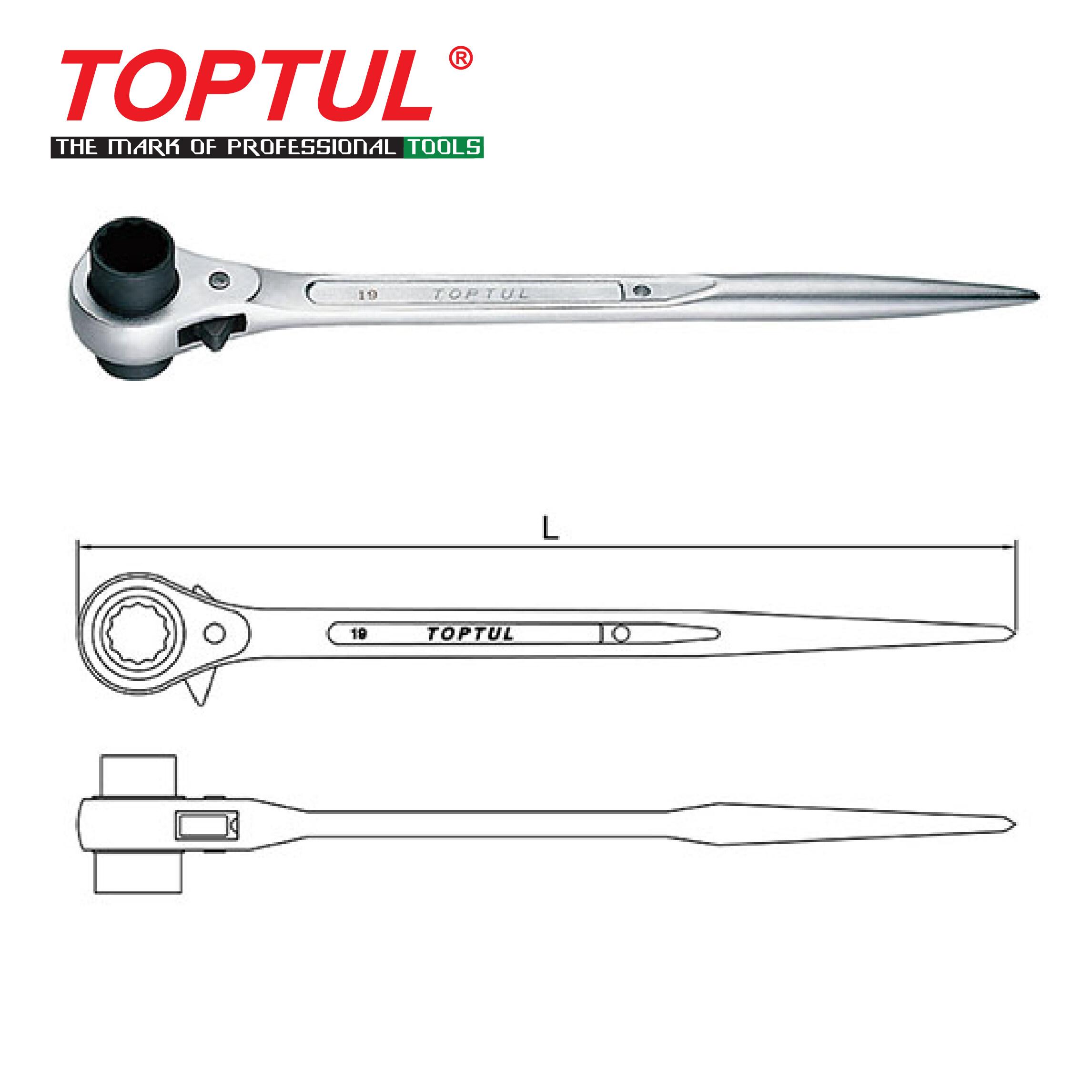 Black 17-19mm Dolity Steel Ratcheting Podger Scaffold Wrench Quick Release Black