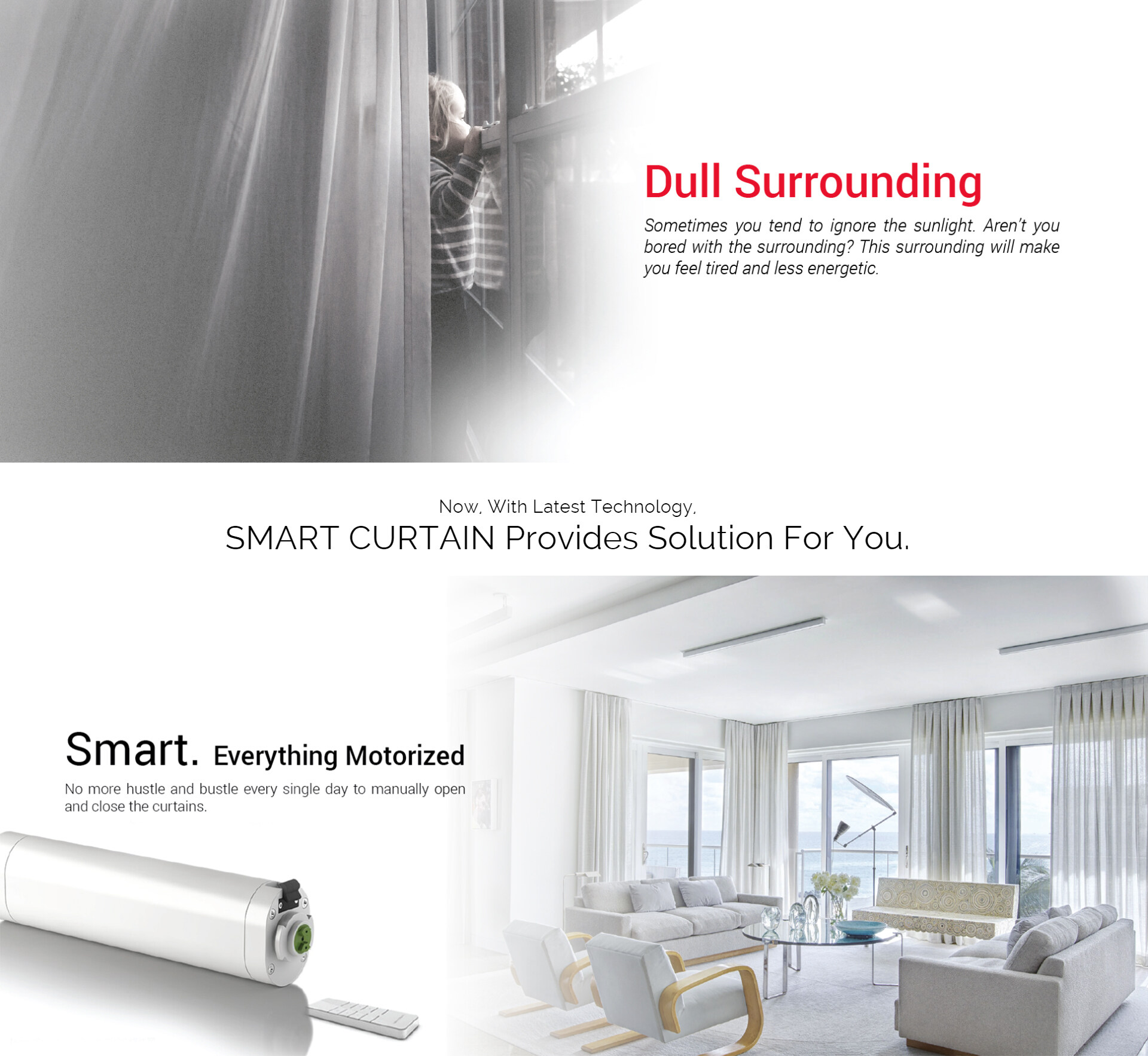 [FREE Installation] Silent Motor/Motorized Smart curtain 3 meter track - 5  year warranty-Include remote control, smart home controller,voice control
