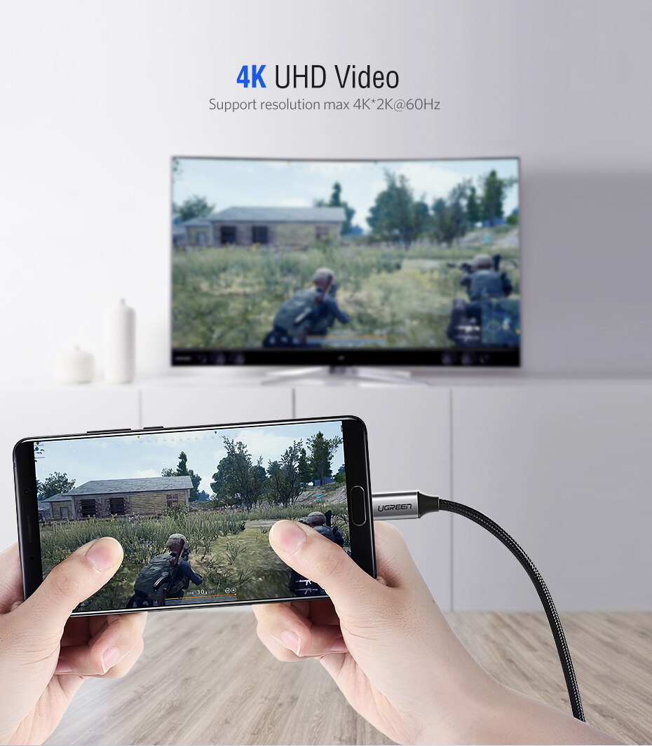UGREEN 1 5/2/3Meter Type C to HDMI Support 4K 60HZ for MacBook iPad Pro  2018 Samsung Note9/S10 Dex S9/S8 Huawei Mate 10 Pro P20 Mate 20/Dell XPS 15  13