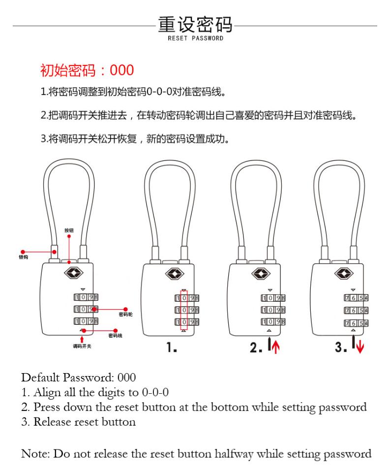 3 Dial Combination Pin TSA Cable Luggage Beg Lock Cut Resistance Travel  Padlock
