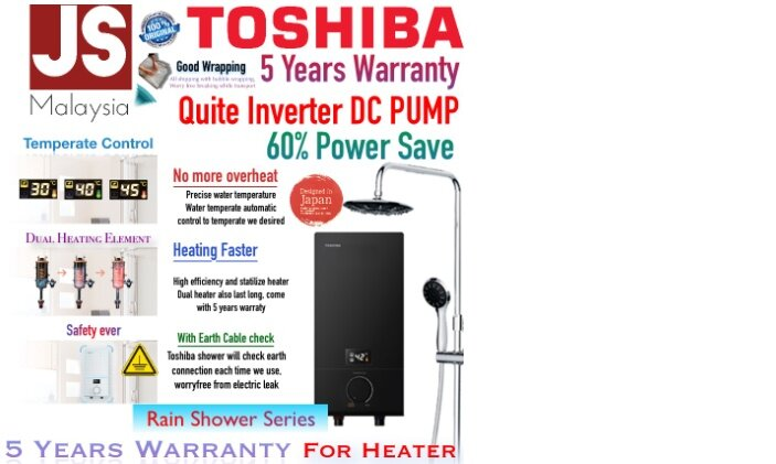 Toshiba Rain Shower DC Inverter Pump Water Heater with Dual Heater  DSK38ES3MB-Rs [5Years Heater and Pump Warranty]