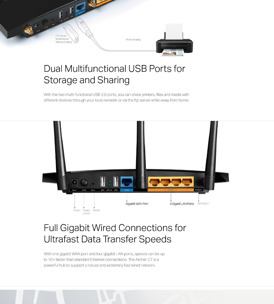 TP-LINK - Archer C7, AC1750 Dual Band Wireless Gigabit Router ( SUPPORT  Unifi / Maxis / TIME / Hypptv )