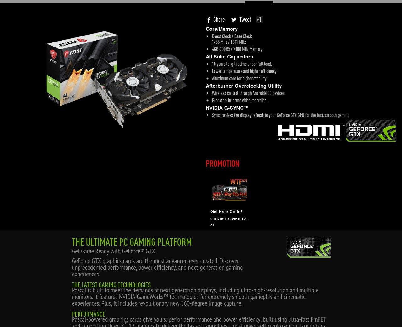 MSI NVIDIA Geforce GTX1050TI 4GT OCV1 Twin Fan 4GB DDR5 Graphics Card