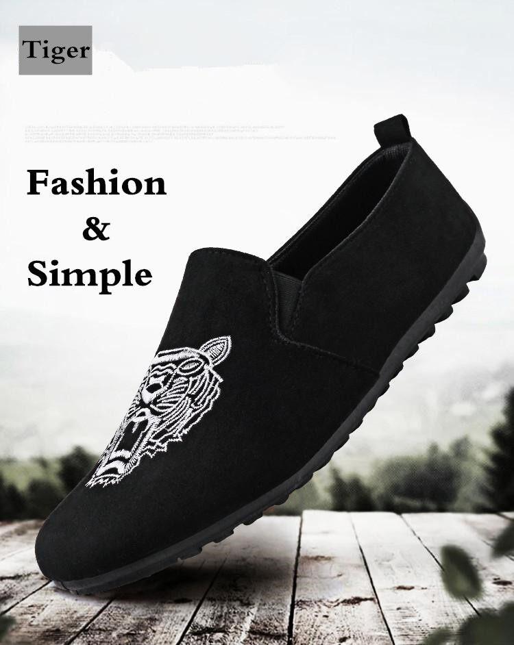6724c8d34c6f Product details of Men Suede Shoes Casual Driving Loafers Slip on Flat Shoes  for Men Soft Sole Moccasins Kasut Lelaki (Black,Gold)
