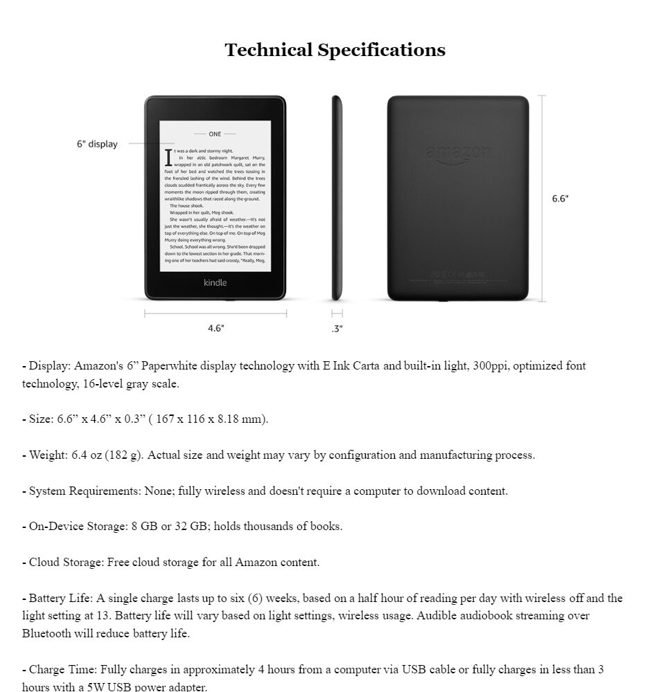 Kindle Paperwhite E-reader 2018, 10th Generation, 6