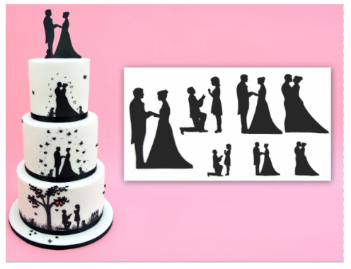 9pcs weeding lovers Plastic Silhouette Cookie Cutters Cake Biscuit Mold ZJP