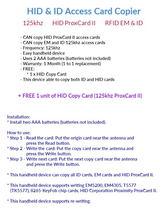 HID Proximity ProxCard II card copier duplicator and ID 125khz RFID  duplicate cloning handheld device with free 1 HID copy card