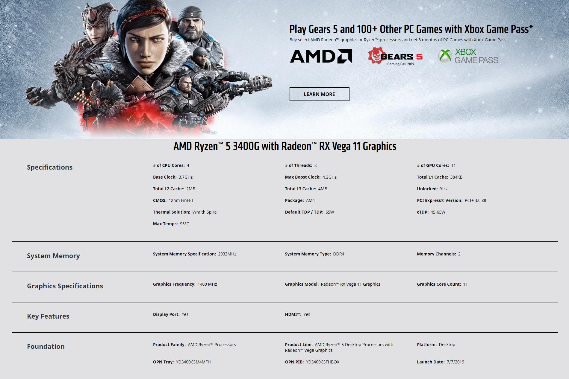 Amd Ryzen 5 3400g 3 7ghz W Radeon Rx Vega 11 Graphics Lazada