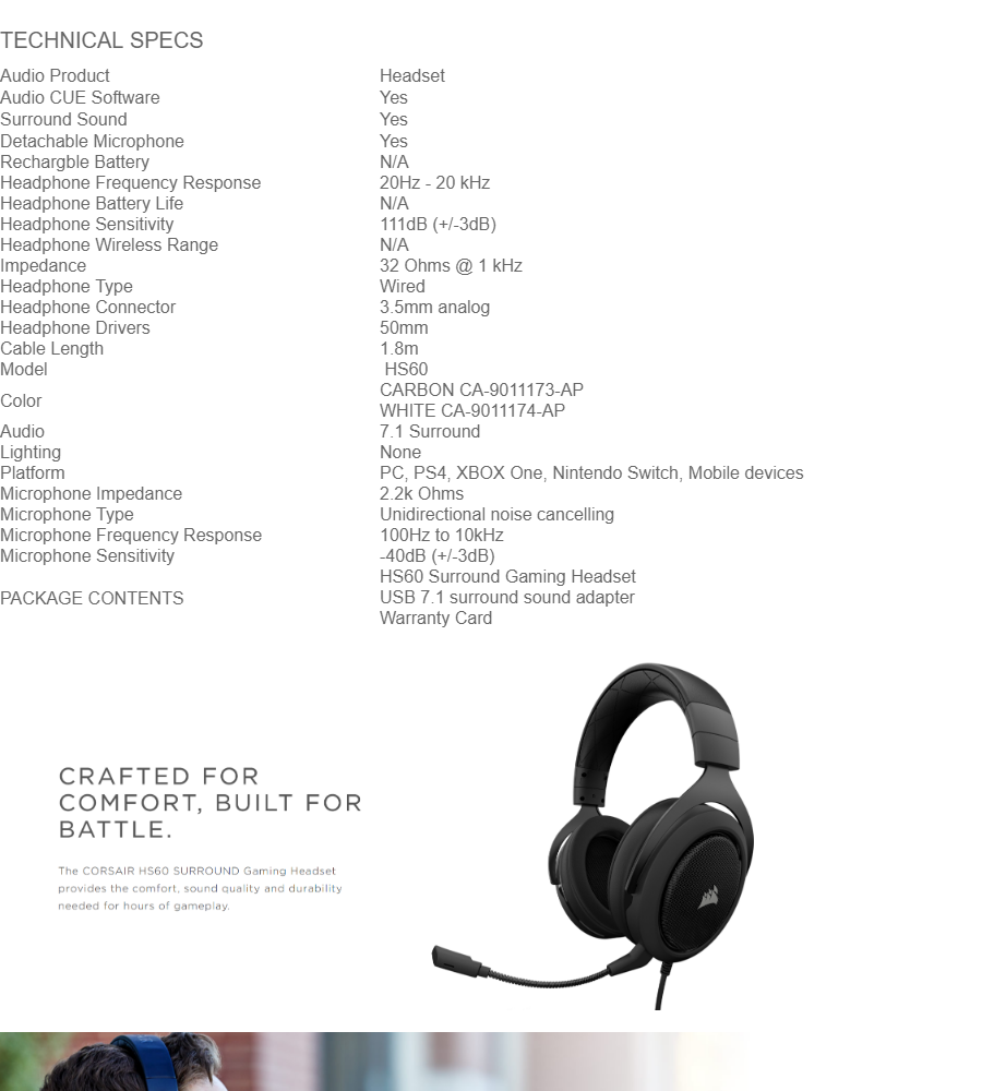 CORSAIR HS60 STEREO GAMING HEADSET WITH 7 1 SURROUND SOUND