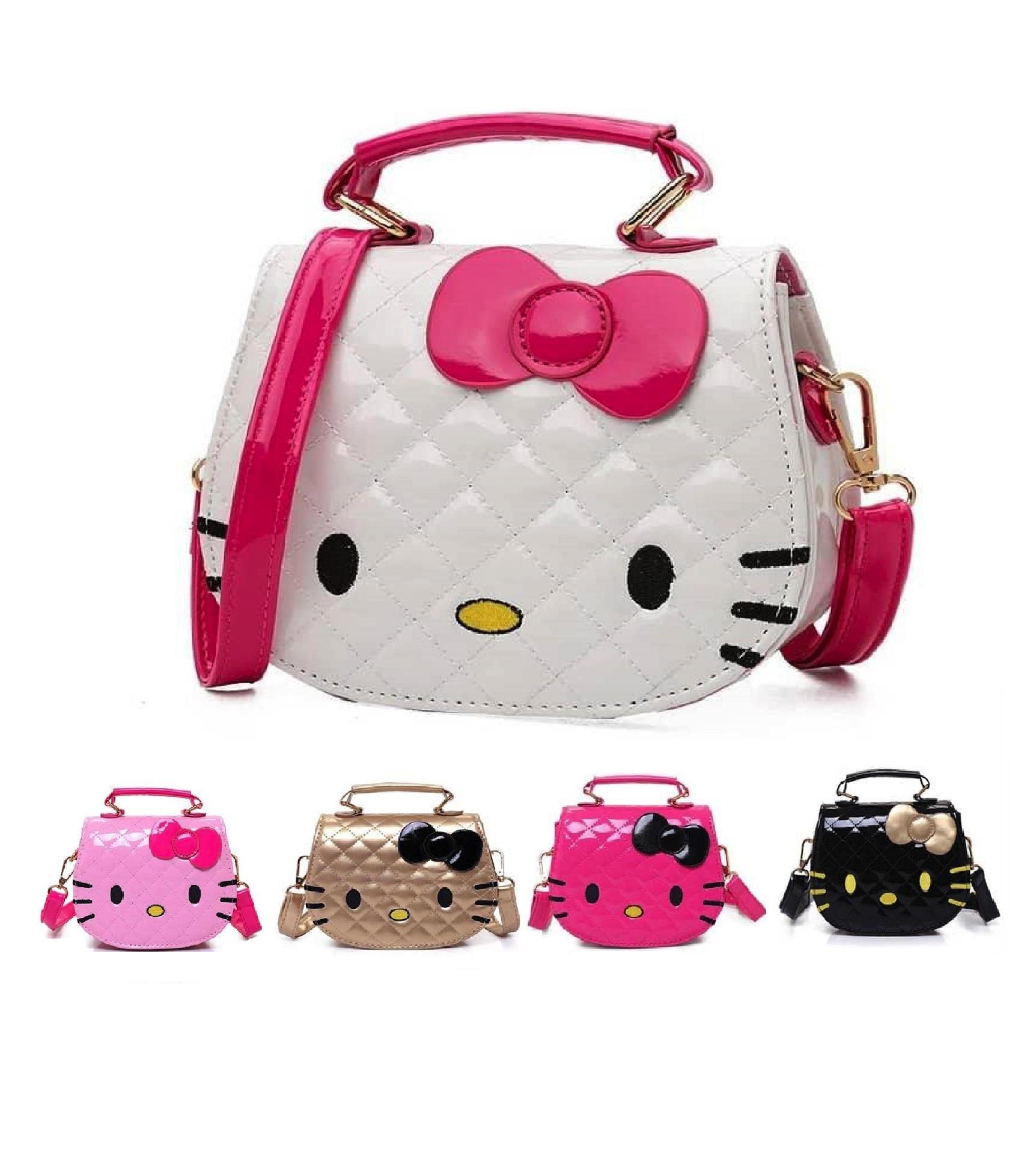 c4168f2a8 Product details of (SUPER DUPER CUTE) WJS Women Kawaii Cute Mini Hello  Kitty Handbag Pretty Bow PU Handbag Hand Bag Kid Girls Bag Sling Bag  Shoulder Bag ...