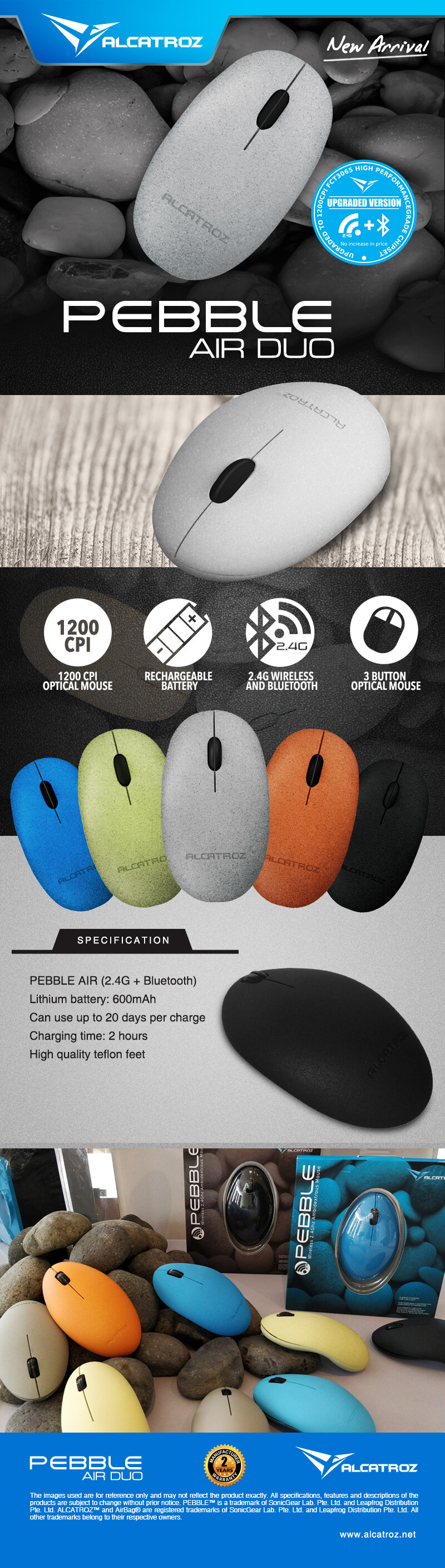Alcatroz Pebble Air High Resolution 1200CPI Wireless