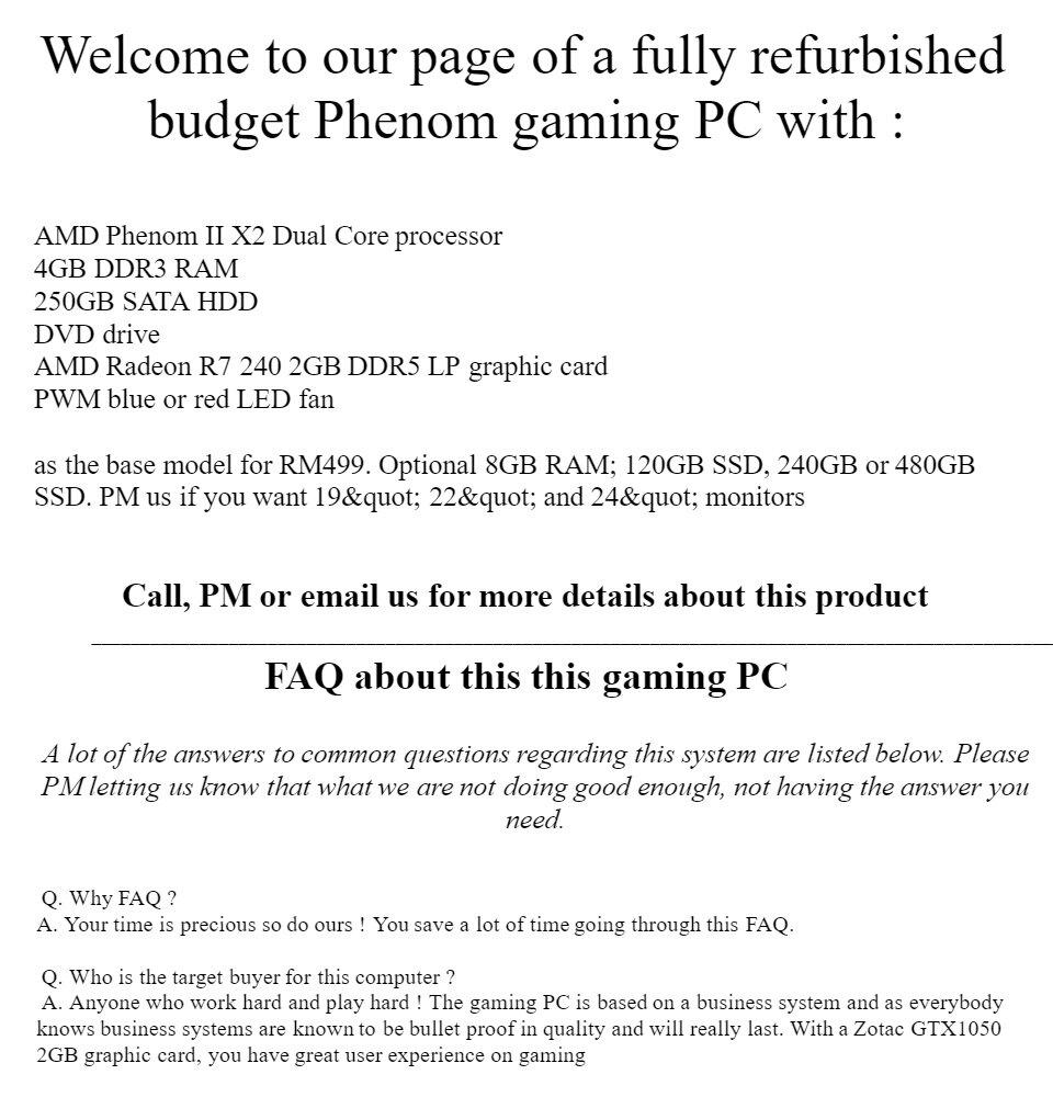 Budget AMD Phenom Radeon SFF gaming PC up to 8GB RAM 480GB SSD also have  4GB 120GB 240GB