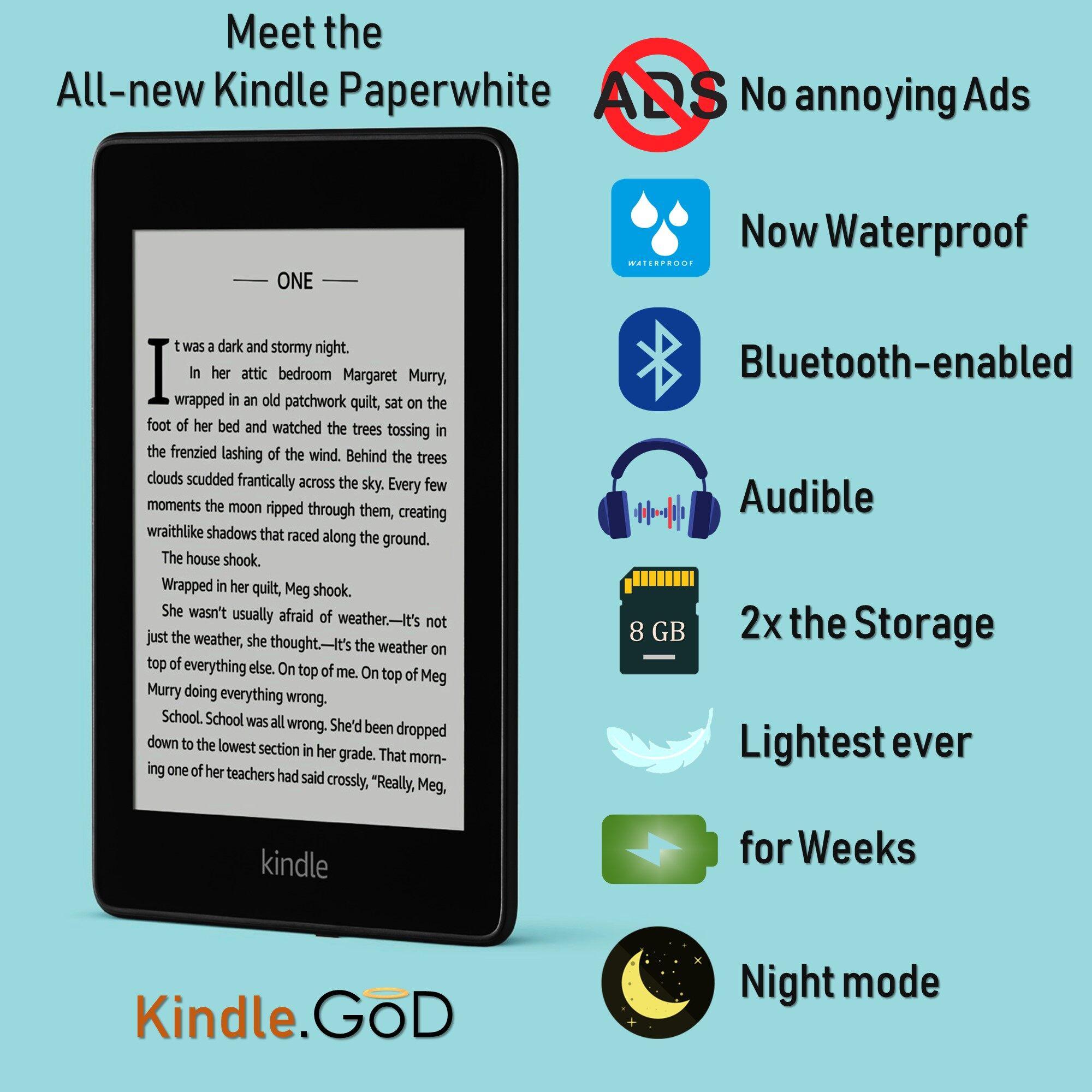 Kindle Paperwhite 4 2018 (10th Gen) - No Ads + Waterproof + 8 GB Storage