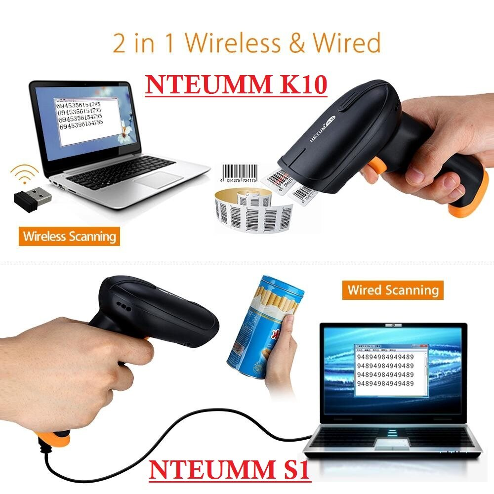 NTEUMM High Quality USB Wired Wireless Laser Barcode Scanner Pengimbas Reader