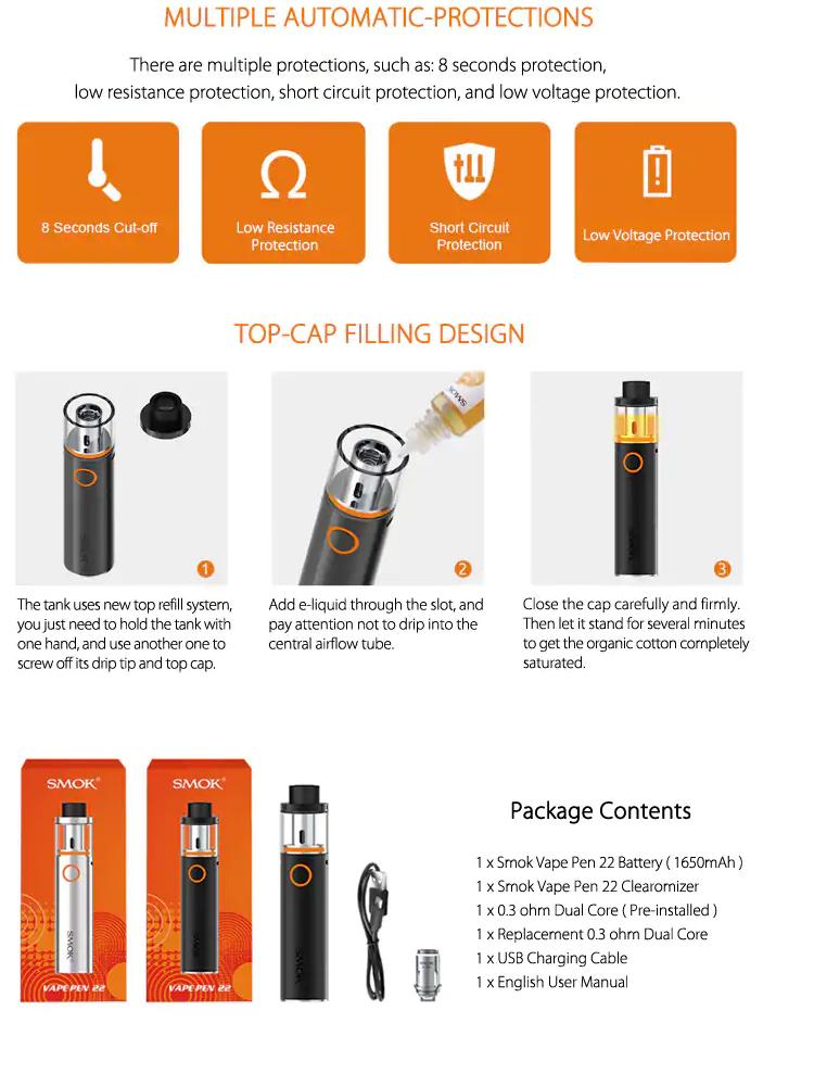SMOK Vape Pen 22 Starter Kit 1650mah Battery E-Cigarette