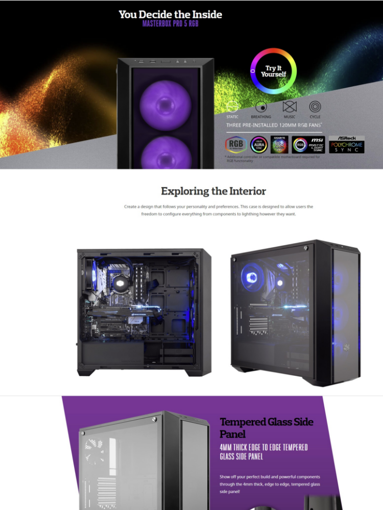 Cooler Master MasterBox Pro 5 RGB E-ATX Gaming Case with Tempered Glass  Side Panel