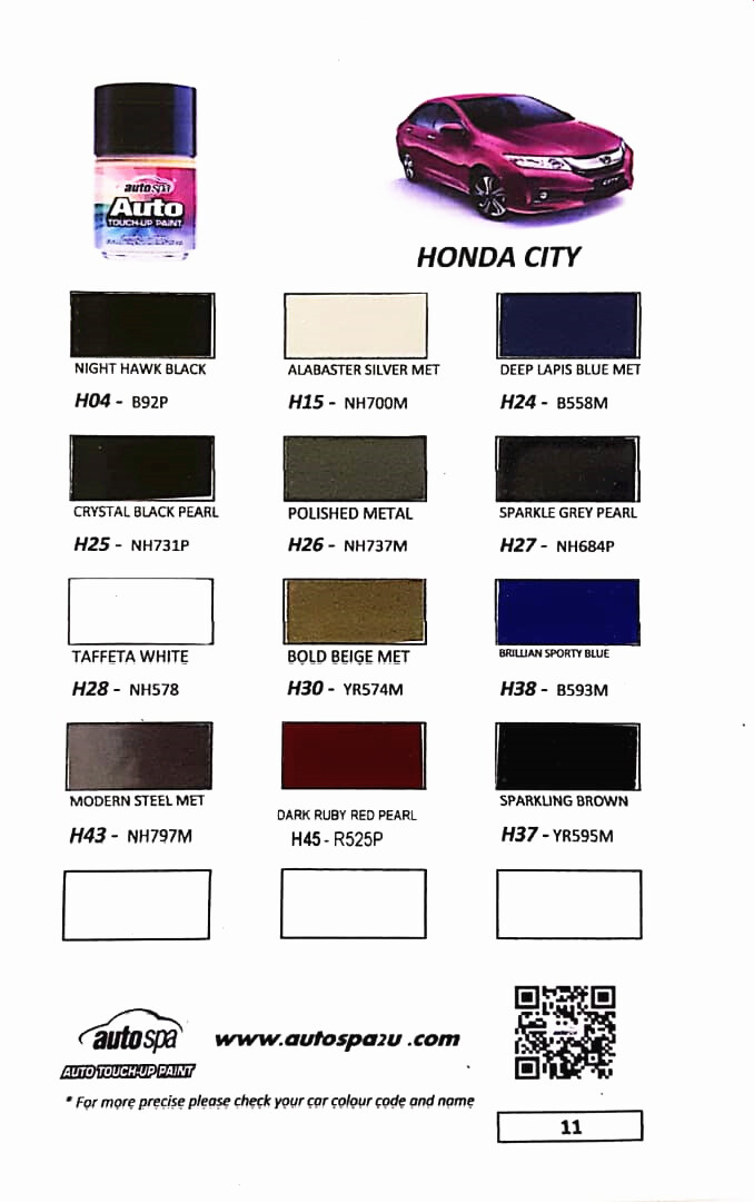 Autospa Touch Up Paint For Honda City Super Value 3 In 1 Promotion Set