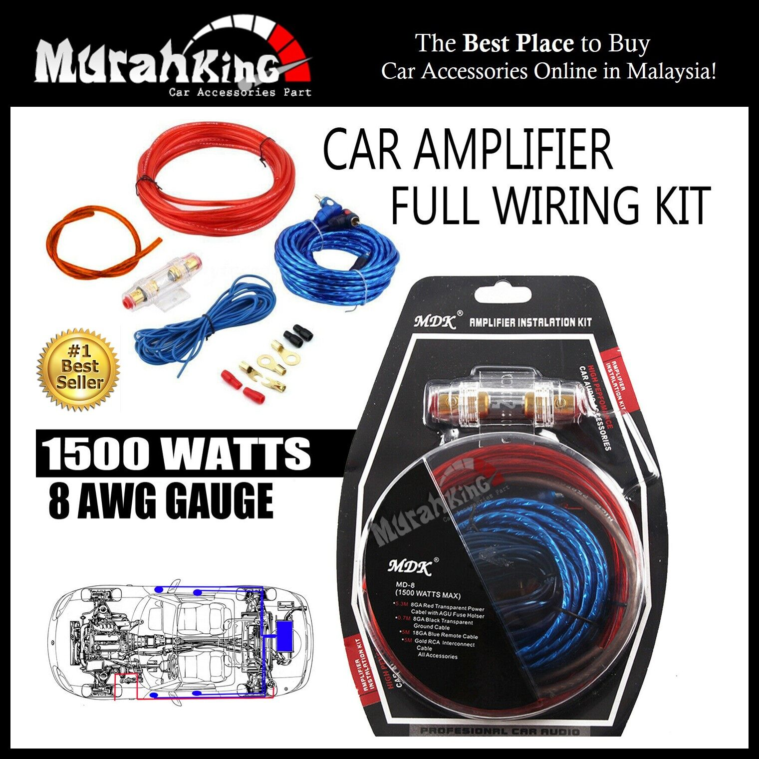 MDK Car Audio Subwoofer Amplifier AMP Wiring Fuse Holder Wire Cable Car Amp Wiring Kit on