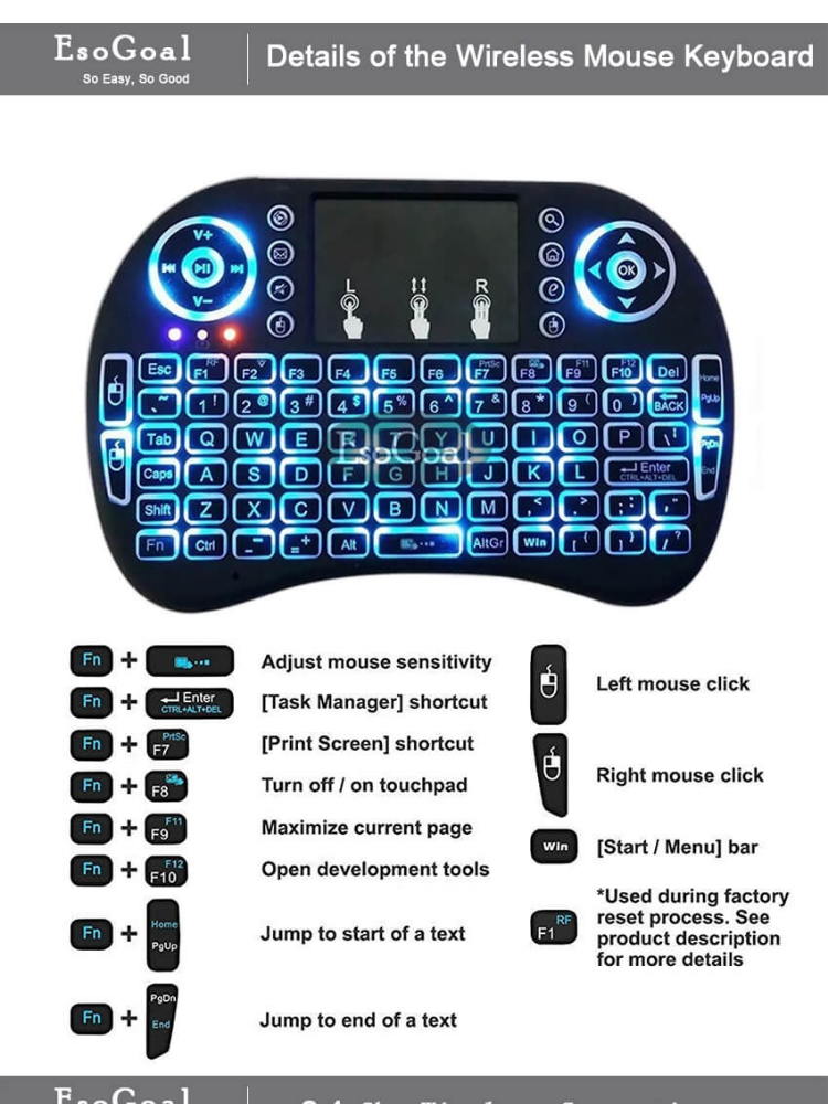 EsoGoal Mini Wireless Touchpad Keyboard Bluetooth Backlit Mouse Gaming Mice  Touch Pad for Android TV, PC, Mac