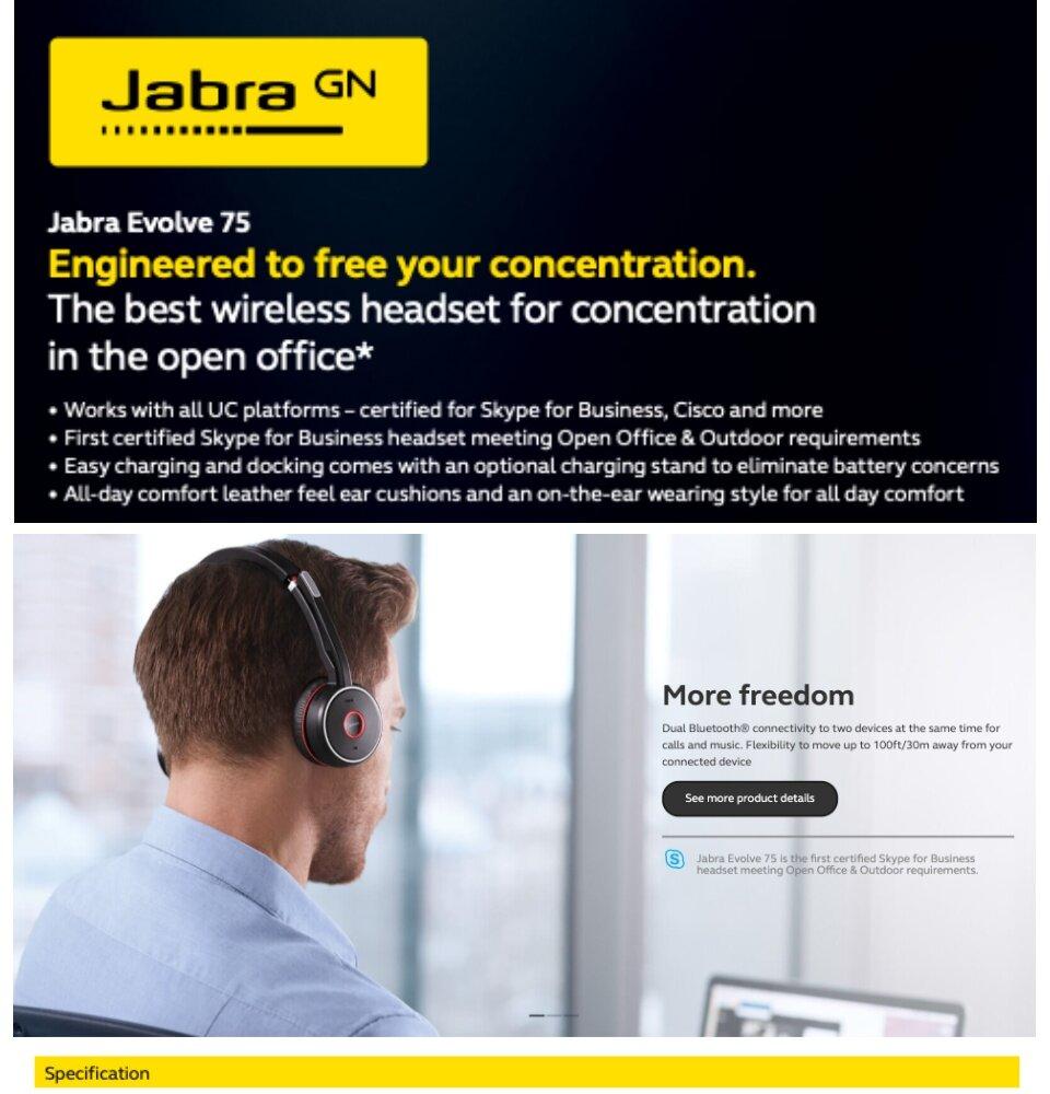 Original Jabra EVOLVE 75 Stereo MS + Charging Stand + Link 370