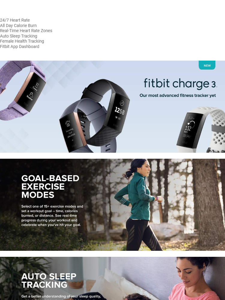 NEW Fitbit Charge 3 Fitness Activity Tracker - Black/Grey/White/Lavender (S  & L Bands Included)
