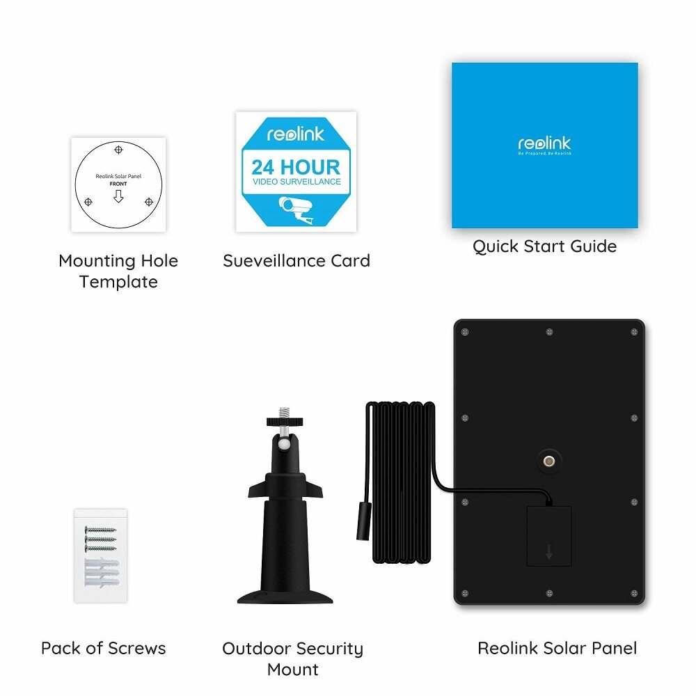 Reolink Solar Charging Panel for Reolink Go , Reolink Argus 2 and Reolink  Argus Pro (Black)