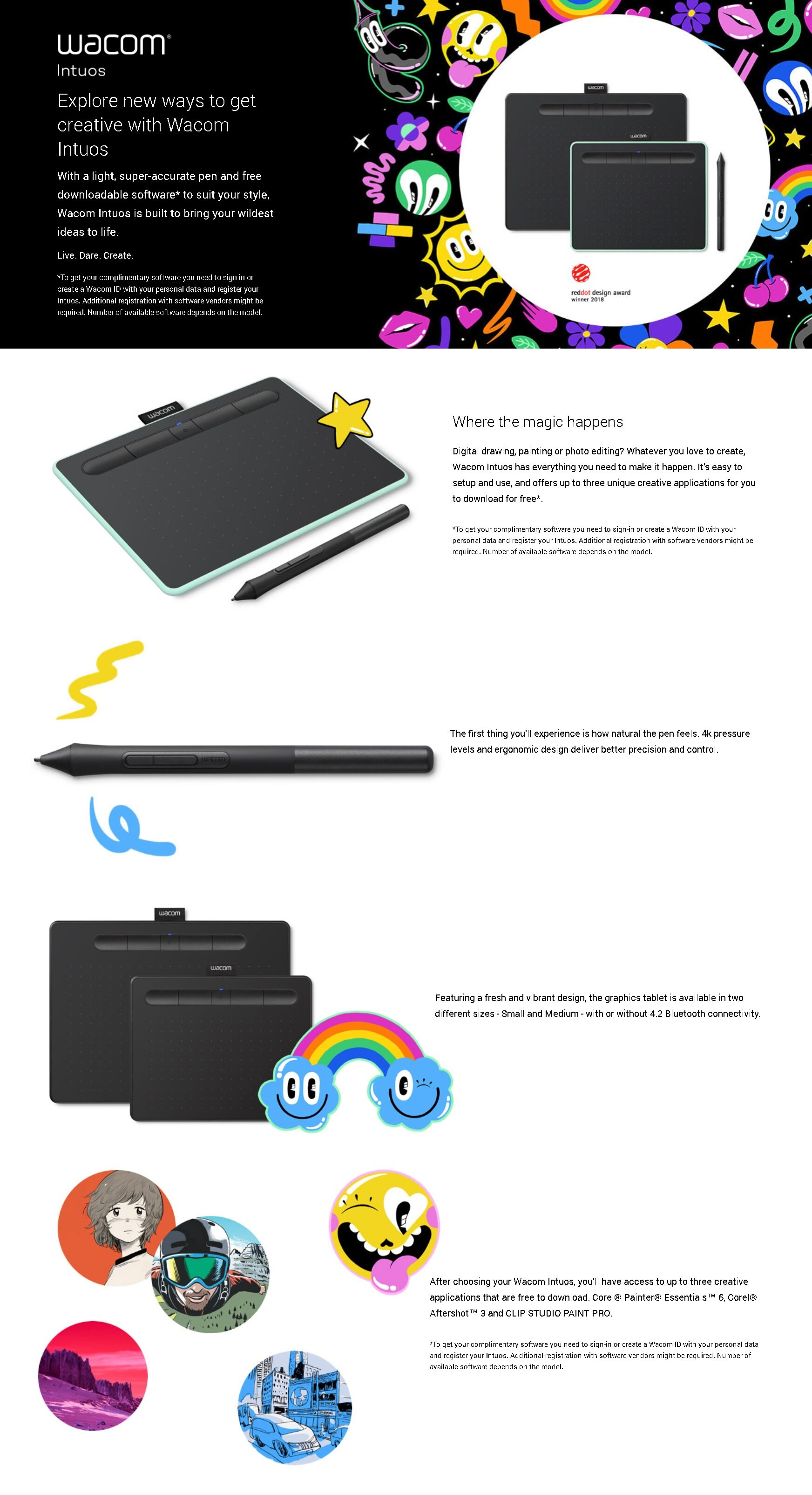 Wacom Intuos Comic Small Comic Pen& Drawing Touch Tablet - Black  (CTL-4100/K0-CX)