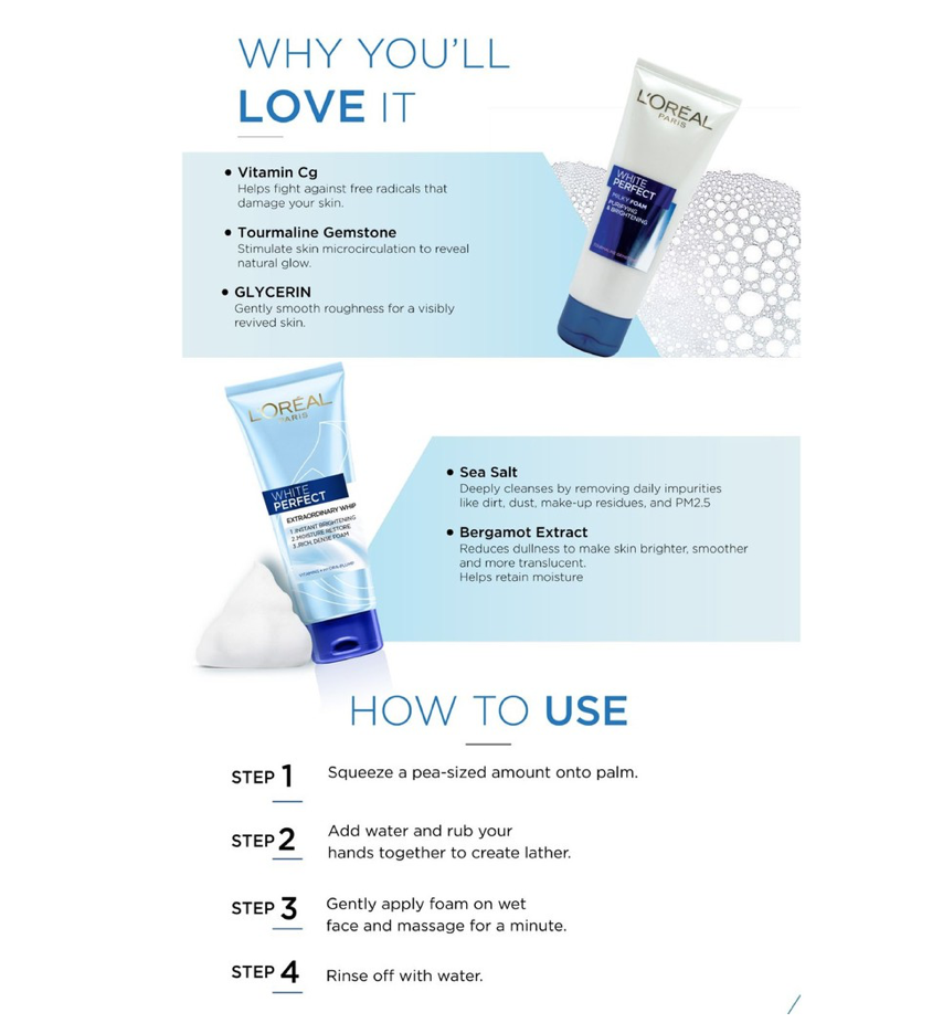 Specifications of L'Oreal Paris White Perfect Purifying & Brightening Milky Foam 100ml