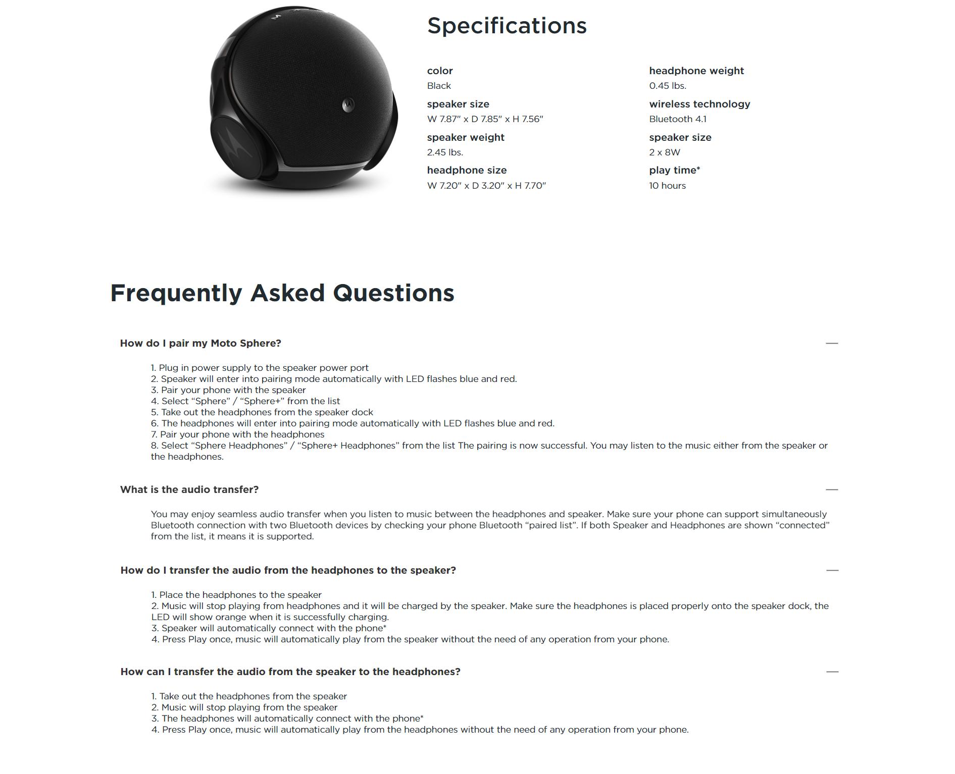 Motorola Sphere 2-in-1 Bluetooth Speaker with Headset
