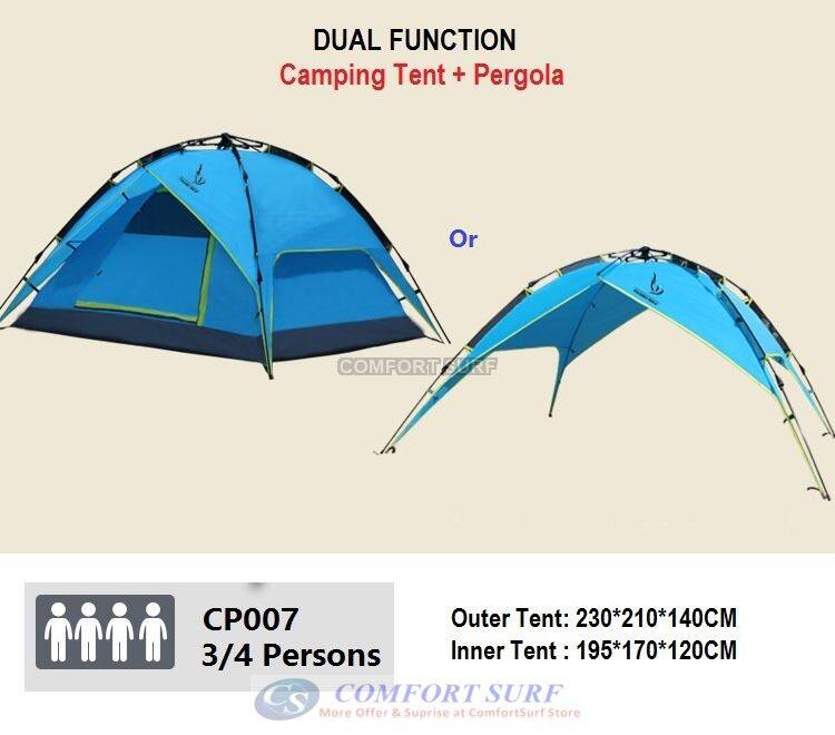 New Outdoor Double Layer Double Door + Dual Use Waterproof Automatic Camping Tent 3/4 Persons + Free Carry Bag