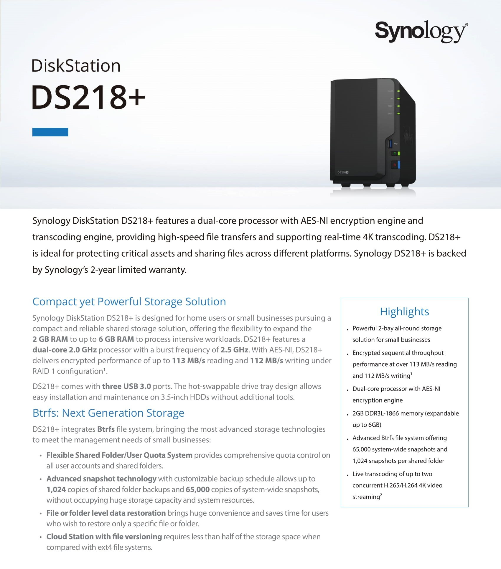 Synology DS218+ NAS DiskStation 2-Bays
