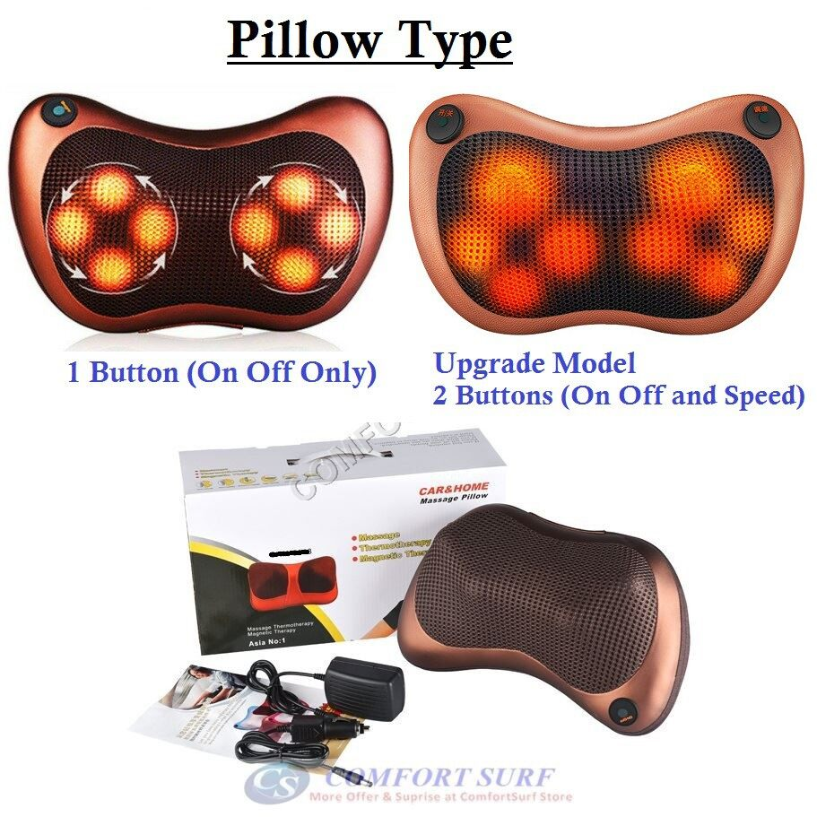 Multifunction Dual Use Electric Massage Pillow Shiatsu LED Lighting 2 in 1 Cushion Home Car Office Massager