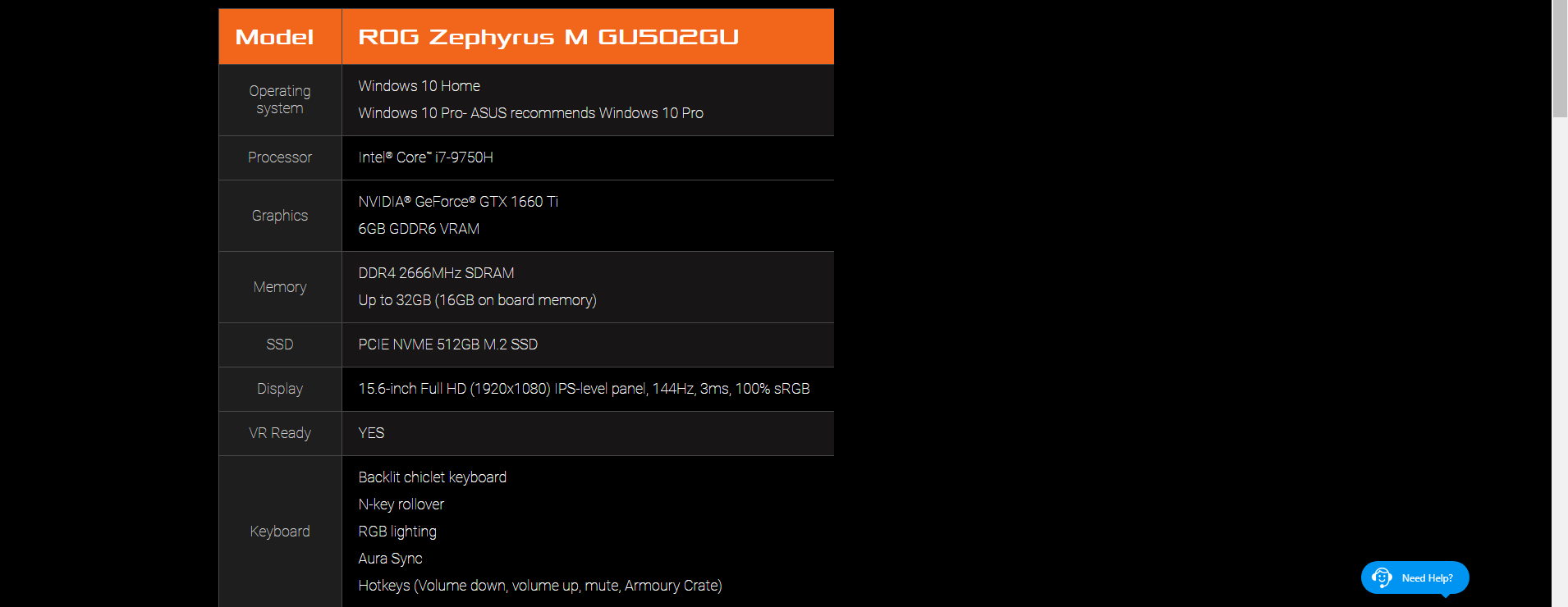 (UPGRADED)ASUS ROG ZEPHYRUS M GU502G-UES022T I7-9750H 16G/12GD4 512SSD  GTX1660TI 6GD6 WIN10H BLACK