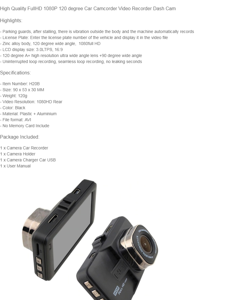 Generic High Quality FullHD 1080P 120 degree Car Camcorder Video