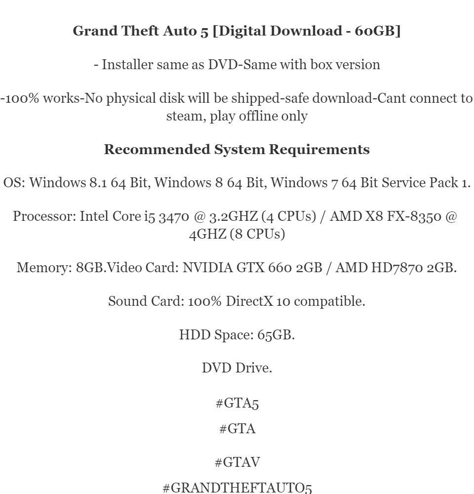 Grand Theft Auto 5 - GTA V PC | OFFLINE Game [Digital Games]